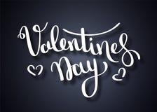 Vector illustratie Het met de hand geschreven borstel van letters voorzien van Gelukkige Valentijnskaartendag met harten op borda stock illustratie
