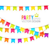 Vector illustratie Het Ontwerp van partijvlaggen met Confettien Vakantiemalplaatje Royalty-vrije Stock Afbeeldingen