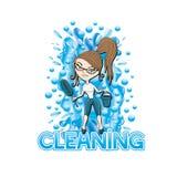 Vector illustratie Het schoonmaken Stock Afbeeldingen