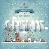 Vector illustratie Het stedelijke landschap van de winter Stad met sneeuw Kerstmis en Nieuwjaar Cityscape met gebouwen vector illustratie