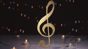 Vector Illustratie Het symbool van de muzieknota stock footage