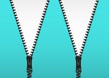 Vector illustratie Het Zipperedslot en opent Dichtgeknoopte ritssluiting Gesloten en open ritssluiting royalty-vrije illustratie