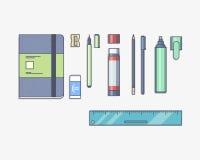 Vector illustratie Kantoorbehoeften met een pen wordt geplaatst die Royalty-vrije Stock Foto