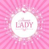 Vector illustratie Leuke Roze Banner voor Prinses, Glamour en het Ontwerp van het Babymeisje Glanzen Retro op Uitbarstingsachterg Stock Fotografie