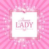 Vector illustratie Leuke Roze Banner voor Prinses, Glamour en het Ontwerp van het Babymeisje Glanzen Retro op Uitbarstingsachterg Royalty-vrije Stock Foto