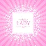 Vector illustratie Leuke Roze Banner voor Prinses, Glamour en het Ontwerp van het Babymeisje Glanzen Retro op Uitbarstingsachterg Stock Afbeeldingen