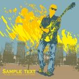 Vector illustratie met gitaarspeler Royalty-vrije Stock Foto