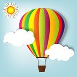 Vector illustratie met hete luchtballon Stock Afbeeldingen