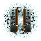 Vector illustratie met luidsprekers en nota's Royalty-vrije Stock Foto's