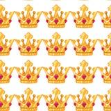 Vector illustratie Naadloos patroon van kronen Gouden Kronen met gemmen Het beeldverhaal van het kunstontwerp vector illustratie