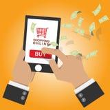 Vector illustratie online winkelpictogram op mobiele slimme telefoon met stock illustratie
