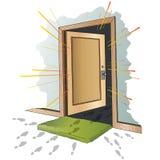 Vector illustratie Open de deur Stock Afbeeldingen