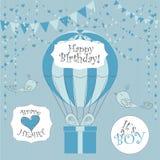 Vector illustratie Perfectioneer aan pasgeboren Verjaardagskaarten, prentbriefkaaren, stickers, etiketten, banners, affiches en a stock illustratie