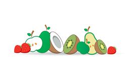 Vector illustratie pictogrammen Apple, kiwi, aardbei, kokosnoot, peer Vlakke stijl Stock Foto's