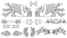 Vector illustratie Reeks tekstafbakeningen en sier kalligrafische lijnen vector illustratie