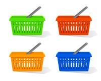 Vector illustratie Reeks van rode, blauwe, oranje en groene lege plastic het winkelen mand met handvat Royalty-vrije Stock Foto's