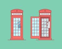 Vector illustratie Rode telefoon openbare telefooncel Stock Fotografie