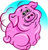 Vector, illustratie, roze varken, roze varken, gevleugelde vreugde, vleugels erachter, geluk stock illustratie