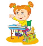 Vector illustratie-schoolmeisje Royalty-vrije Stock Afbeelding
