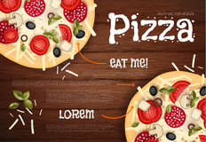 Vector illustratie Smakelijke Pizza op Houten Textuur Snel voedselachtergrond Royalty-vrije Stock Foto's