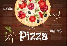 Vector illustratie Smakelijke Pizza op Houten Textuur Snel voedselachtergrond Stock Fotografie
