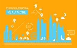 Vector illustratie Stedelijk Landschap Onroerende goederenachtergrond Het ontwerp van Infographic Stadsdag Royalty-vrije Stock Foto