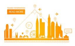 Vector illustratie Stedelijk Landschap Onroerende goederenachtergrond Het ontwerp van Infographic Stadsdag Stock Foto