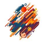 Vector illustratie Stroken, ovalen, lijnen en cirkels met een samenstelling van diverse ronde vormen in een echt kleurenpalet Stock Fotografie