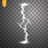 Vector illustratie Transparant lichteffect van elektrische bliksem De onbedwingbare macht van natuurlijke energie Stock Foto's