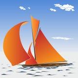 Vector illustratie van beeldverhaal varend jacht Stock Foto's