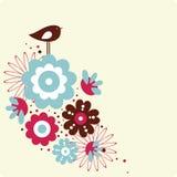 Vector illustratie van bloem en vogel Stock Foto's