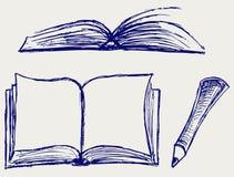 Vector illustratie van boeken die op het wit wordt geïsoleerde Stock Foto's