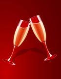 Vector illustratie van champagneglazen het bespatten Royalty-vrije Stock Afbeeldingen