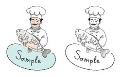 Chef-kok met het malplaatje van het vissenembleem Stock Foto