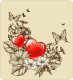 Vector illustratie van de Dag van Valentijnskaarten met rozen Royalty-vrije Stock Afbeelding