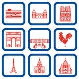 Vector illustratie van de oriëntatiepunten van Parijs Stock Fotografie
