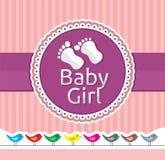 Van de het meisjesaankomst van de baby de aankondigingskaart Stock Afbeeldingen
