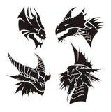 Vector illustratie van draakhoofden Royalty-vrije Stock Afbeeldingen
