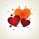 Vector illustratie van drie hartvormen Royalty-vrije Stock Foto's