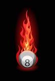 Vector illustratie van een biljartbal in brand stock illustratie