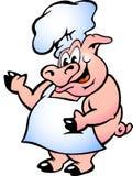 Vector illustratie van een Chef-kok die van het Varken schort draagt Stock Foto
