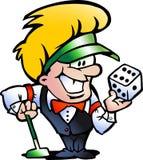 Vector illustratie van een Croupier van het Casino Stock Afbeeldingen