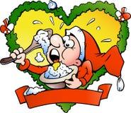 Vector illustratie van een Elf dat rijstebrij eet Royalty-vrije Stock Foto