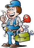 Vector illustratie van een gelukkige Loodgieter Royalty-vrije Stock Fotografie