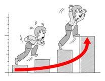 Grafiek met zakenman 5 Stock Foto