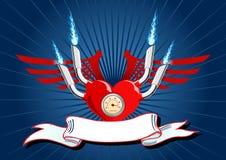 Vector illustratie van een hart met vleugels op blauw Royalty-vrije Stock Foto