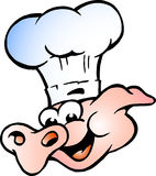 Vector illustratie van een Hoofd van het Varken van de Chef-kok Stock Afbeelding