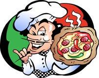 Vector illustratie van een Italien Pizza Baker Royalty-vrije Stock Foto
