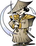 Vector illustratie van een Japanse Samoerai Royalty-vrije Stock Foto