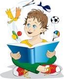 Vector illustratie van een jongen die een boek leest. Stock Afbeelding